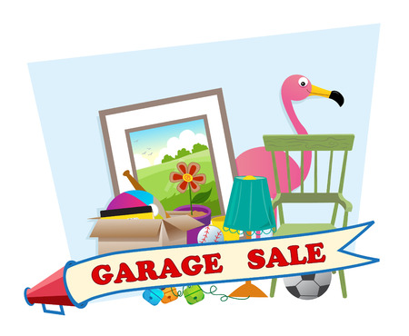 garage sale: Garage Sale - Cute garage sale banner with household items in the background  Eps10 Illustration