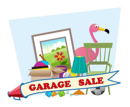 uso domestico: Garage Sale - Cute vendita garage banner con articoli per la casa in background Eps10