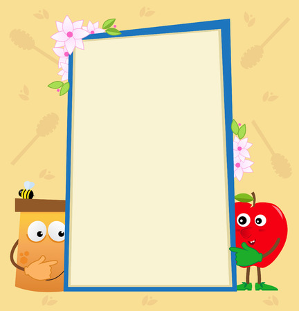 Honey and Apple Vertical Banner - Blank banner with cartoon honey jar and apple on each side and a decorative background  Illustration