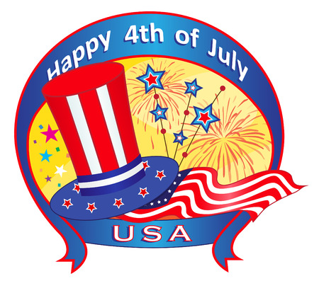 Fourth of July Banner - Festive 4th of July banner with Uncle Sam top hat, flag, fireworks and stars   Illustration