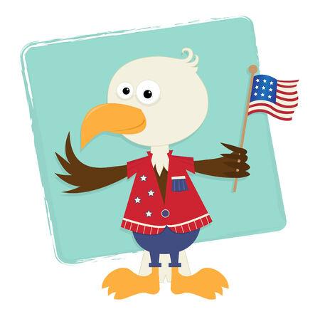 Patriotic Eagle - Cute baby eagle holding American flag Vector