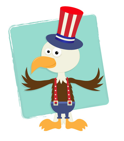 Patriotic Eagle With Hat - Cute baby eagle with Uncle Sam top hat