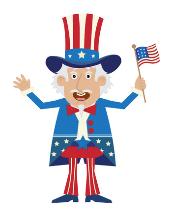 Uncle Sam - Cartoon illustration of uncle Sam holding a flag