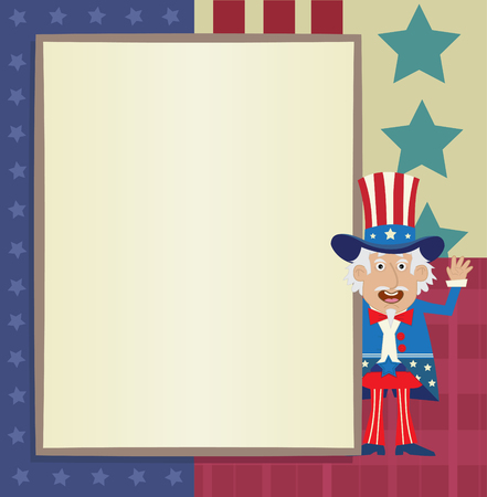 sam: Uncle Sam Banner - decorative blank banner with Uncle Sam standing next to it Illustration