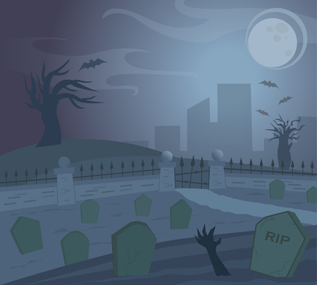 Spooky Graveyard - Spooky Graveyard at night