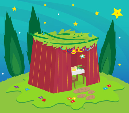 sukkah: Sukkah At Night - Sukkah on a hill under the stars surrounded by trees  Illustration