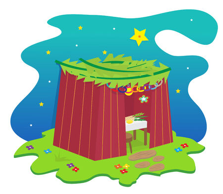 holiday celebrations: Sukkah Icon - Sukkah with decorations under the stars