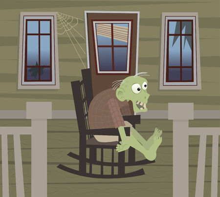 Zombie on a Rocking Chair - Cute zombie is sitting on a rocking chair in his porch