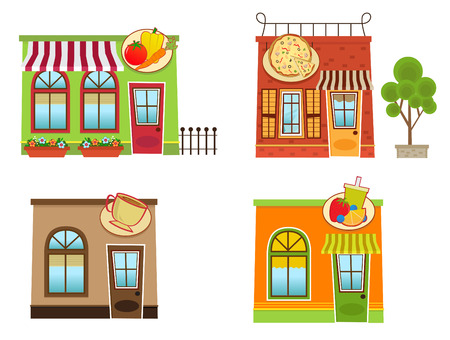 pizza place: Downtown Shops - Set of four colorful downtown style shops Illustration