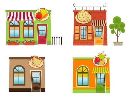 Downtown Winkels - Set van vier kleurrijke binnenstad stijl winkels