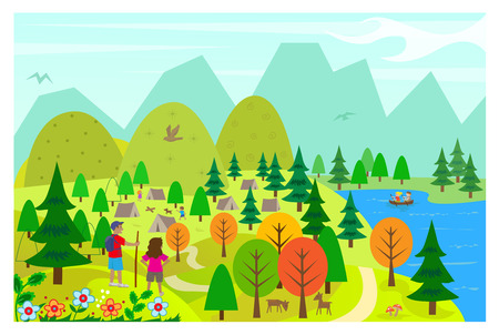 At The Lake - Aerial view of a lake, hills and a camping site, with people doing activities  Vector