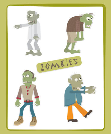 Zombies - Cute set of four zombies  Illustration
