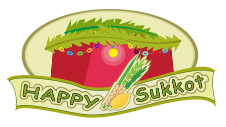 Happy Sukkot - Sukkot banner with sukkah in the background  Ilustração