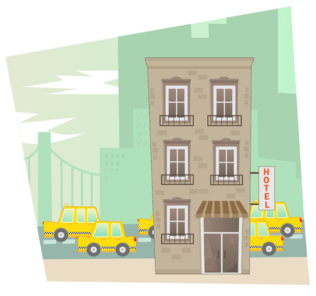 Hotel - A city scene of a cute hotel in the front and a street view in the background  Vector