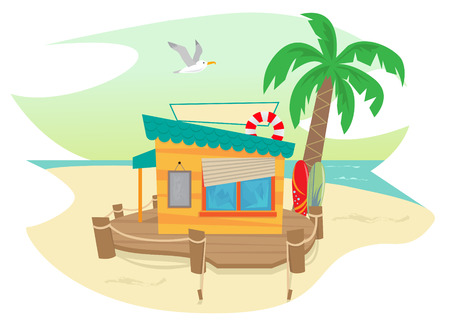 Beach Shack - Cute beach shack and a palm tree, surfboards, flying seagull and an ocean view in the background   Stock Illustratie