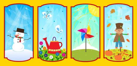 사계절 - 사계절의 귀여운 개념 설명 일러스트
