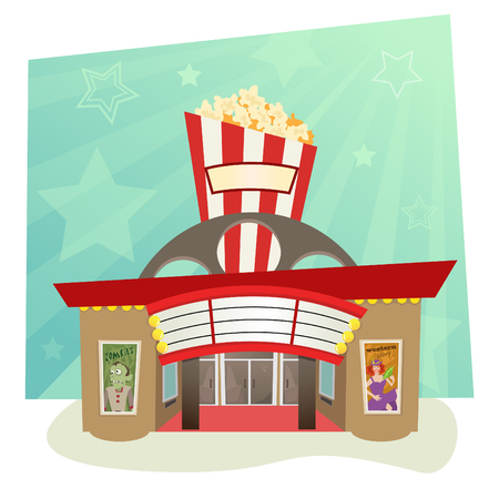 movie theater: Movie Theater - stylized movie theater with stars in the background