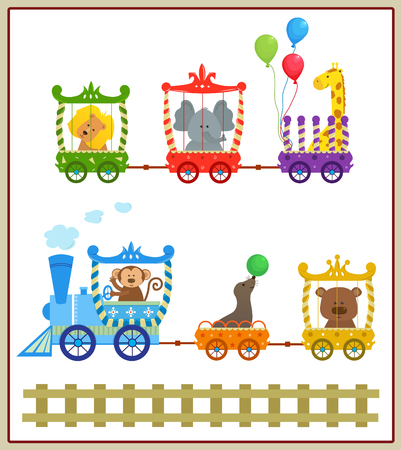 Circus Train - Cute circus train with baby animals Vector