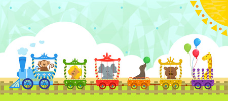 Circus Train With Background   Vector