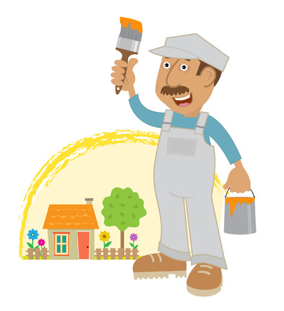 residential tree service: Painter - A cartoon painter holding a paint bucket and a brush is standing in front of a cute house with flowers and tree  Eps10