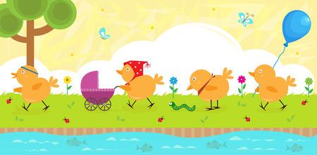 강둑: Chicks on a Walk - Four baby chicks strolling on the riverbank