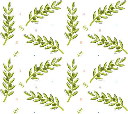 Olive Branch Pattern - Seamless pattern of olive branches   Çizim