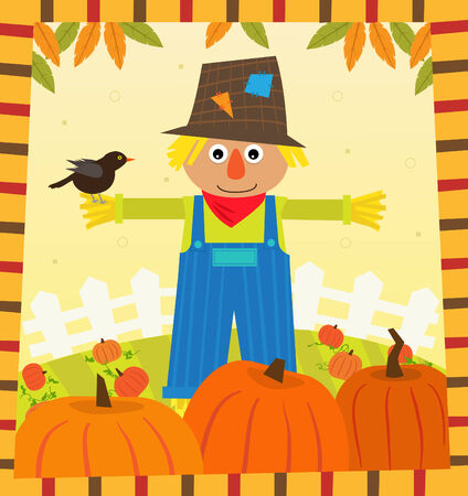 autumn scarecrow: Scarecrow and Pumpkins - Cute scarecrow with a bird on his arm, is standing in a pumpkins field  Eps10