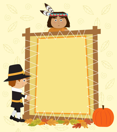 indian thanksgiving: Thanksgiving Note - Cute Pilgrim and Indian are standing next to a blank decorative banner