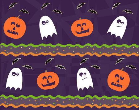 jack o lantern: Halloween Pattern - Seamless Halloween pattern of jack o lantern and ghost