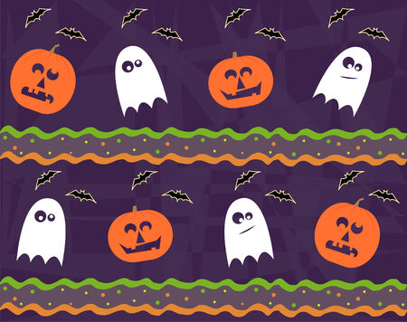 Halloween Pattern - Seamless Halloween pattern of jack o lantern and ghost
