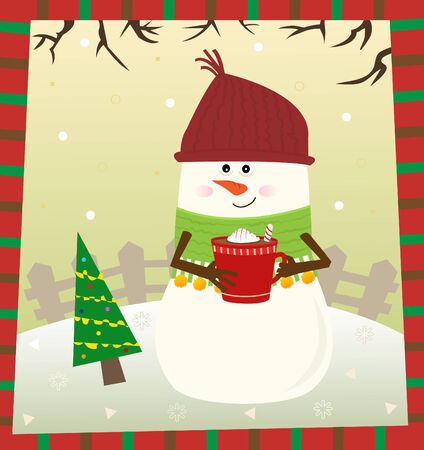 Snowman - Cute snowman drinking hot chocolate   Ilustrace