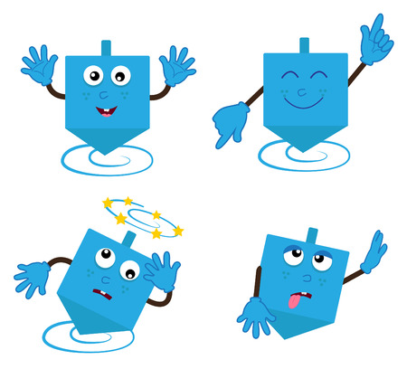dreidel: Dancing Dreidel - Cartoon Dreidel in four different positions
