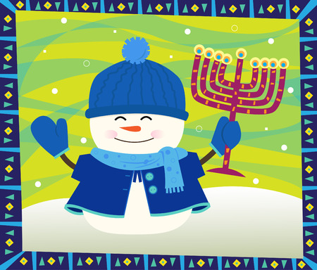 Snowman and Menorah - Cute snowman is holding a menorah and standing in front of a decorative background.