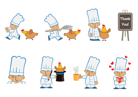 food industry: Tiny Chef Fun - Fun set ops10f eight chef emoticons doing different things.