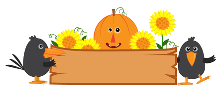 Cute Fall Sign - Cute fall banner with pumpkin, sunflowers and crows.