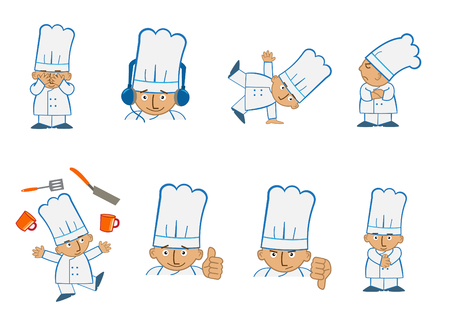 food industry: Tiny Chef Juggle - Fun set of eight chef emoticons doing different things.