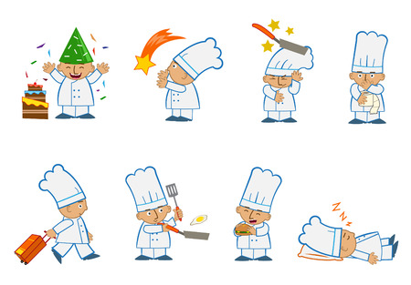 Tiny Chef Special - Fun set of eight chef emoticons doing different things. Vector
