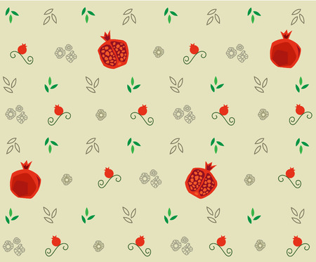 Pomegranate Pattern - Decorative pattern of pomegranate and leaves. Stok Fotoğraf - 31364431