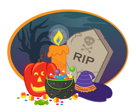Halloween Icon - Halloween items in front of a spooky background.