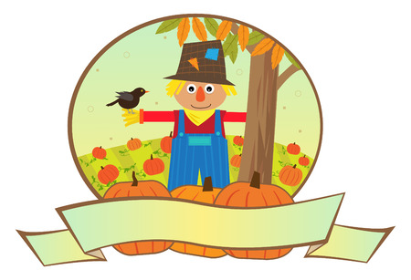 Scarecrow Banner - Cute scarecrow is standing in a pumpkins patch, with a blank banner in the front.