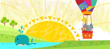 Animal Adventure - Cute animals in a hot air balloon in a magical land.  Vector