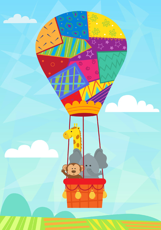 hot: Animal In Hot Air Balloon - Baby animals in a quilted hot air balloon.  Illustration