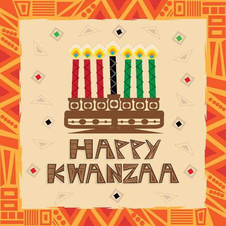 negras africanas: Feliz Kwanzaa - Kwanzaa feliz tarjeta de felicitaci�n colorida y decorativa.