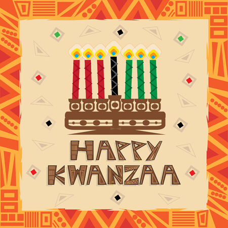 kwanzaa: Happy Kwanzaa - Happy Kwanzaa colorful and decorative greeting card.