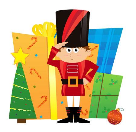 nutcracker: Nutcracker and Presents - Cute nutcracker is guarding a pile of presents. Eps10 Illustration