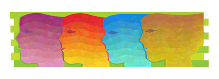 Women of All Colors - Conceptual illustration of four abstract faces in different colors.  Illustration