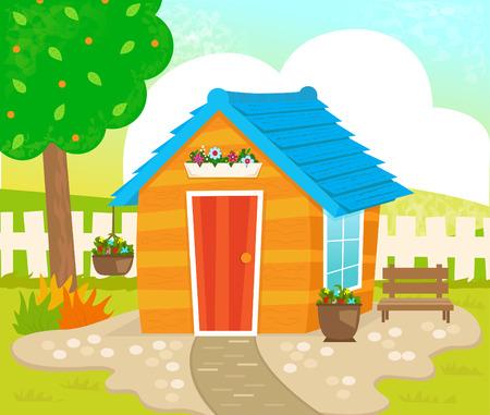 Tuinhuisje - Oranje schuur met blauwe dak, bloemen en een bankje in de tuin.