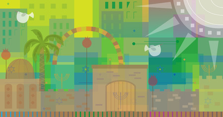 bird of israel: Abstract and colorful illustration of old and new Jerusalem