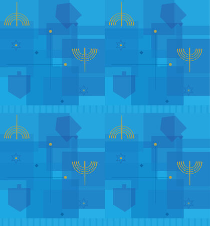 Hanukkah Abstract Pattern - Seamless pattern of dreidels and menorahs with abstract background