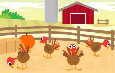 Turkey Farm - Cartoon turkeys in a farm with a silo and a barn in the background